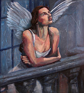Juliet balchony angel oil painting