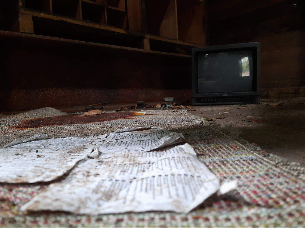 Abandoned film set in Hensol Woods, Wales, UK
