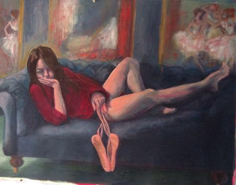ballerina homage to degas oil painting