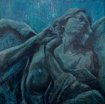 Magari blue stone angel sculpture oil painting in italy