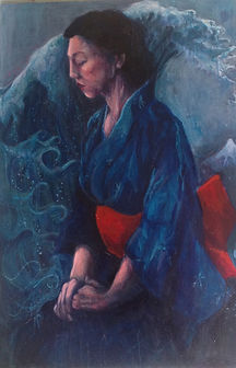 kinochi and the wave japanese woman portrait acrylic painting