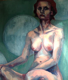 Sophies worlds moon nude female model oil painting portrait