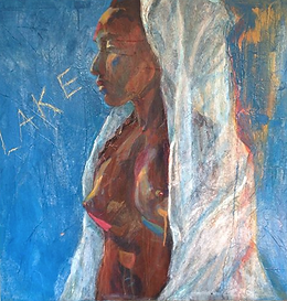 Lake nude model blue acrylic collage painting