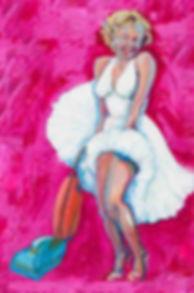 Marilyn monroe housework hoovering oil painting