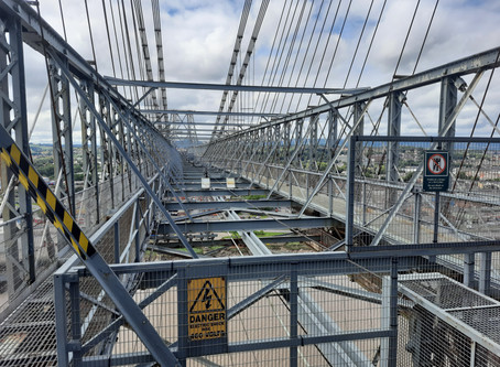 Climbing the Transporter Bridge, Newport, Wales, UK