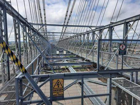Climbing the Transporter Bridge, Newport, Wales, UK