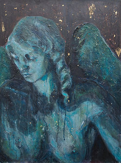 Serenissima female angel acrylic and gold leaf painting