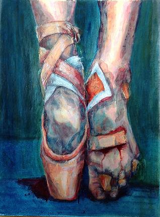 broken dreams sore bloody ballerina feet oil painting