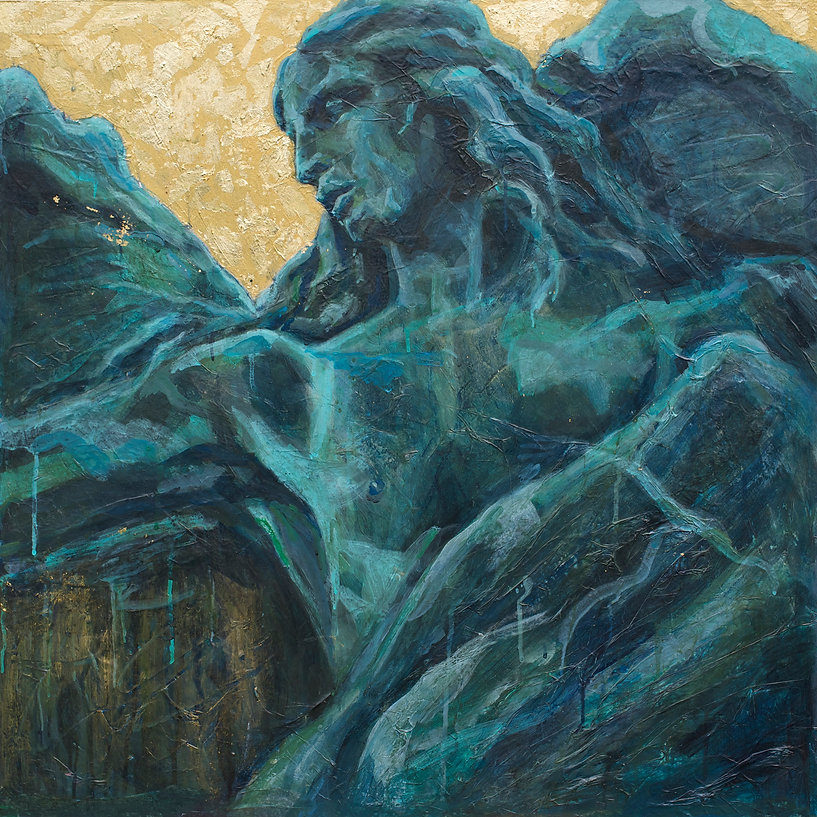 Italian oil painting of statue