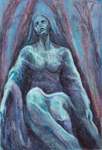 Addolorata statue paris, blue oil and acrylic painting