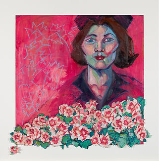 jackie kennedy pink with flowers portrait oil painting