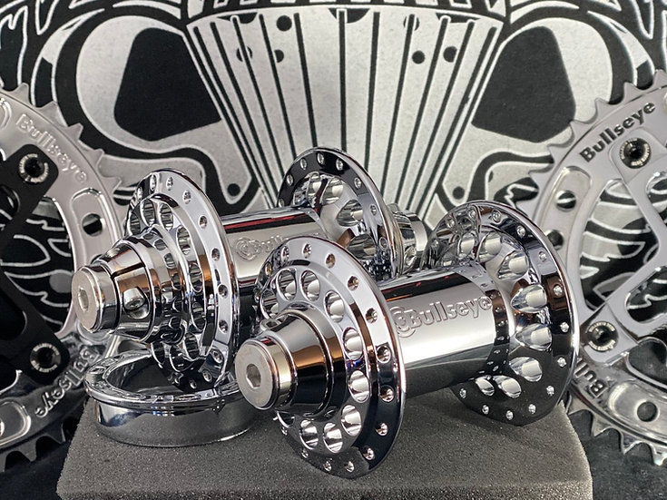 LIQUID Bullseye Hurricane Racing Hubs wet liquid chrome