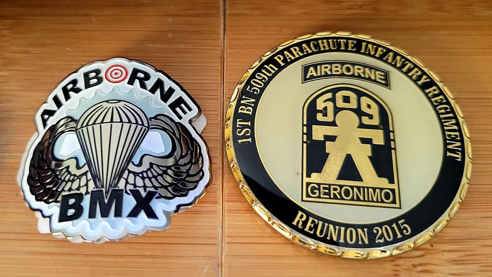 AIRBORNE BMX Metal chrome badge.