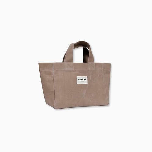 MILKY BROWN WAXED CANVAS PETIT LIDO BAG
