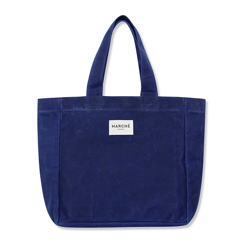 SAXE BLUE WAXED CANVAS MIDI LIDO BAG