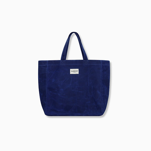 SAXE BLUE WAXED CANVAS OVERSIZE LIDO BAG