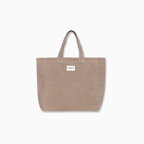 MILKY BROWN WAXED CANVAS OVERSIZE  LIDO BAG