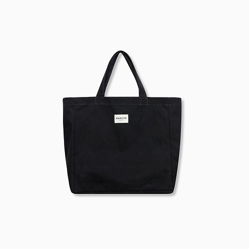 BLACK WAXED CANVAS OVERSIZE LIDO BAG