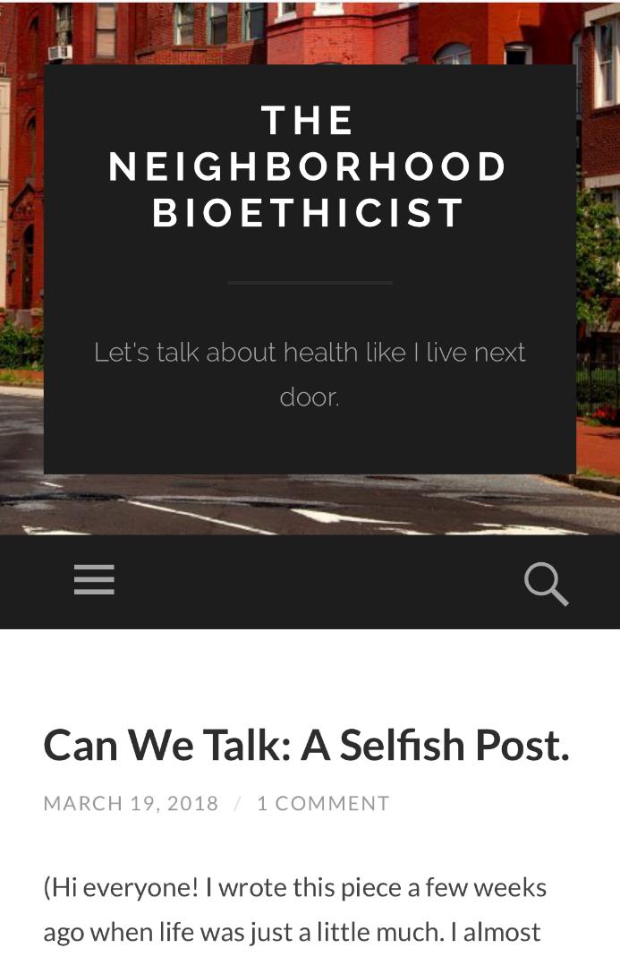 The Neighborhood Bioethicist