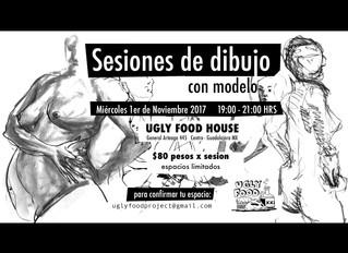 Sesión de Dibujo: con modelo/ life-drawing sessions @Uglyfoodhouse