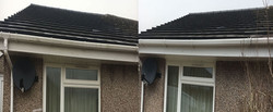 before and after of jh exterior gutter cleaning service