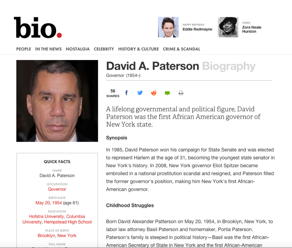 """Screen shot of web article """"David A. Patterson Biography"""" http://www.biography.com/people/david-a-paterson-400134#synopsis"""