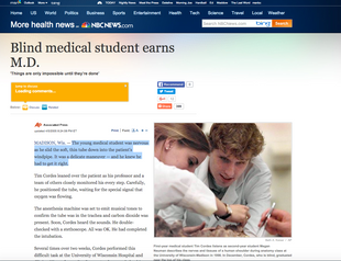 BLIND MEDICAL STUDENT EARNS M.D.