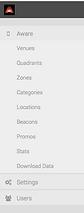 AWARE Wayfinding App admin area navigation