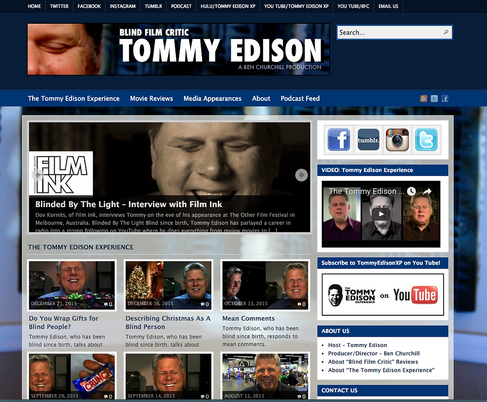 Screen shot of Tommy Edison, Blind Film Critic, website: http://blindfilmcritic.com/