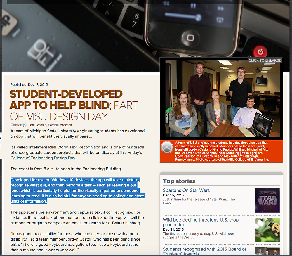 "Screen shot of web article, ""Student-Developed App to Help Blind"" http://msutoday.msu.edu/news/2015/student-developed-app-to-help-blind-part-of-msu-design-day/"
