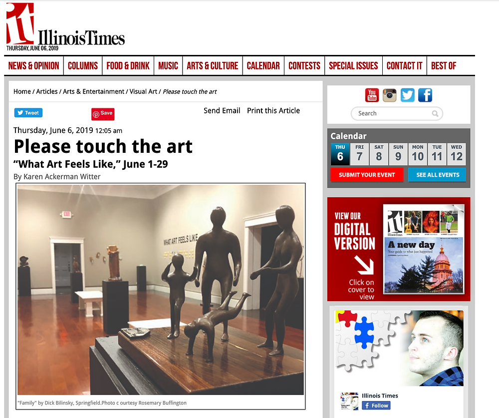 """Illinois Times Article, """"Please Touch the Art"""""""