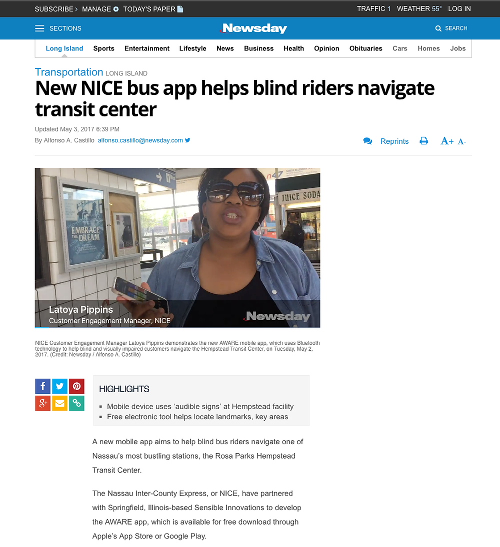 Newsday website article screen shot. New NICE bus app helps blind riders navigate transit center.