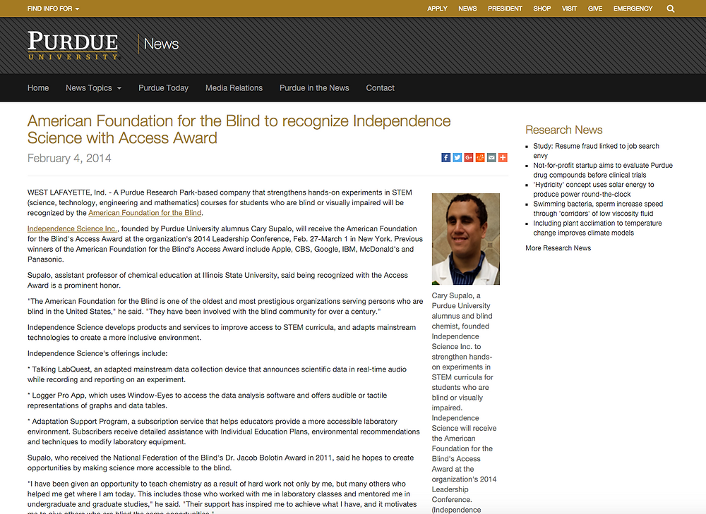 Screen shot from original article from http://www.purdue.edu/newsroom/releases/2014/Q1/american-foundation-for-the-blind-to-recognize-independence-science-with-access-award.html