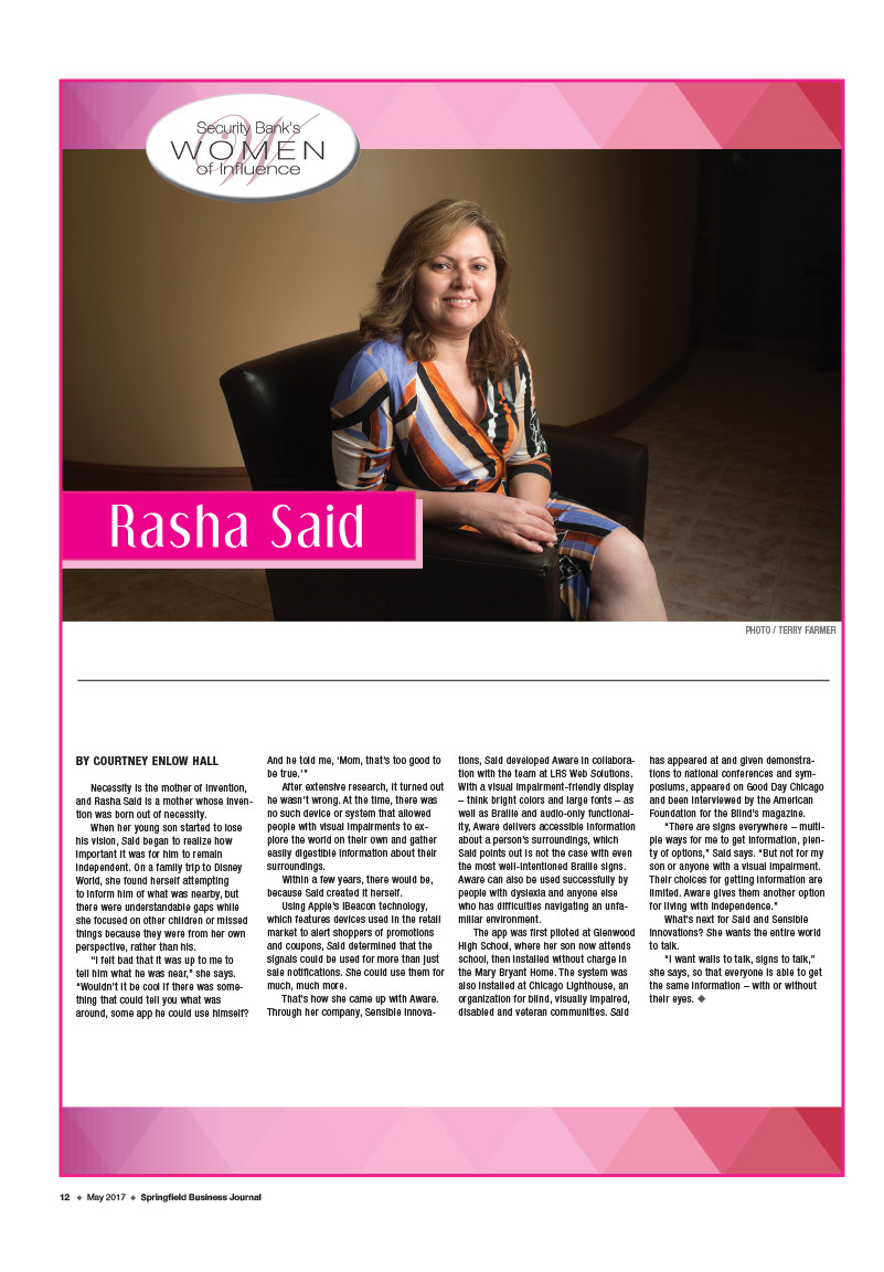 "Rasha Said a 2017 ""Women of Influence"" Nominee"