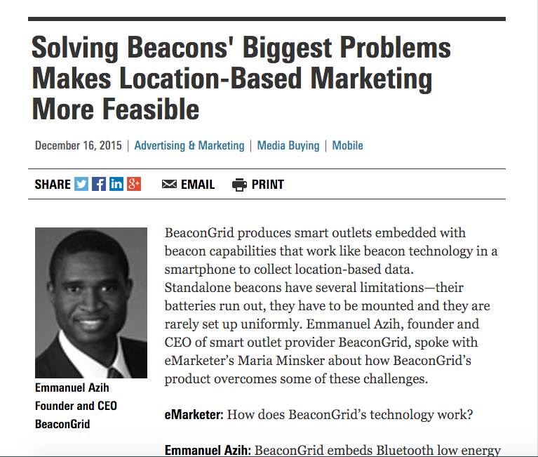 "Screen shot of the article ""Solving Beacons' Biggest Problems Makes Location-Based Marketing More Feasible"""
