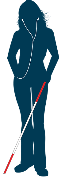 Illustration of woman wearing earbuds and carrying a walking cane