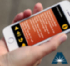Image of a person holding a smartphone using the AWARE app.