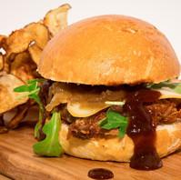 Burger porc effiloché