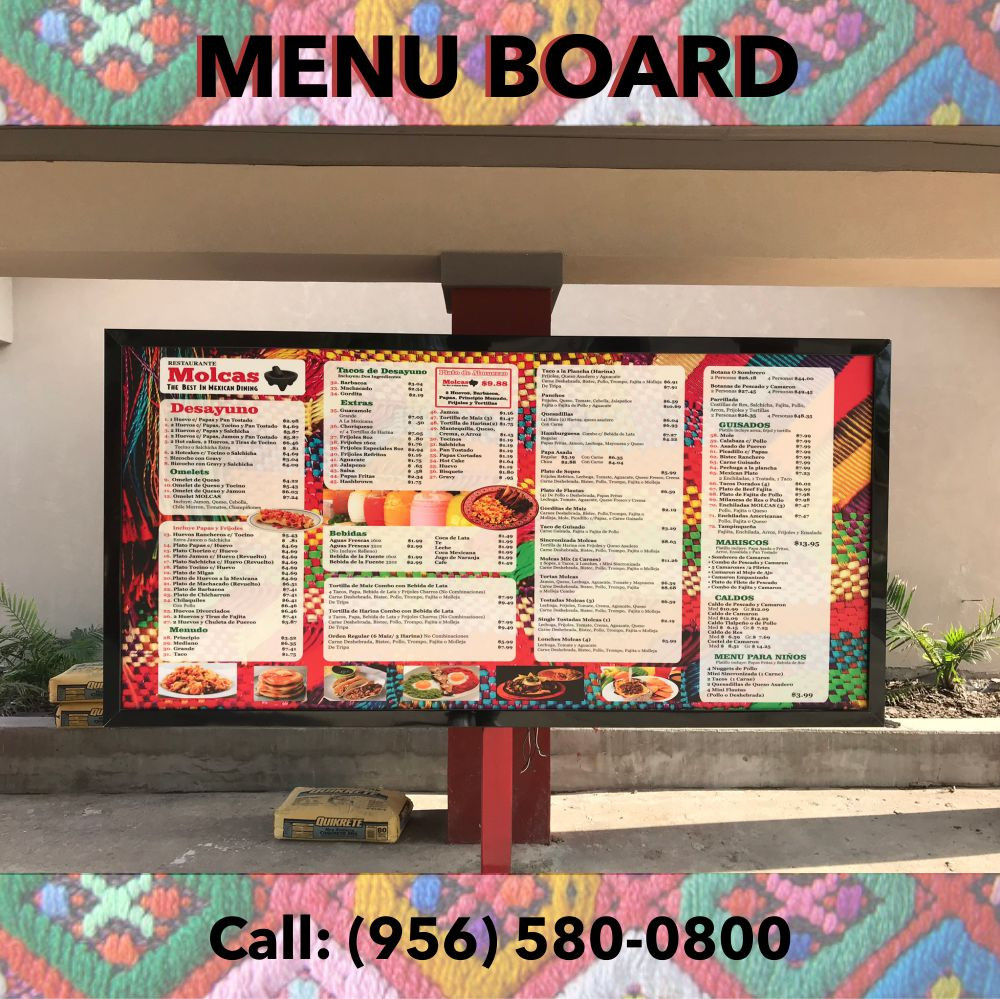 Molcas Menu Board Sign
