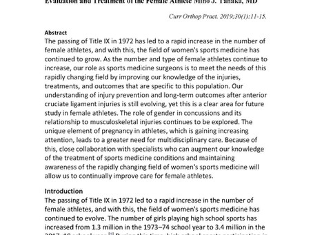Current Topics in Women's Sports Medicine Evaluation and Treatment of the Female Athlete Miho J. Tan
