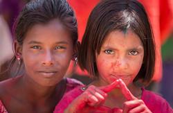 Girls celebrating Holi