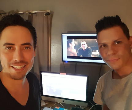 William Wayne with Co-Producer and Composer EmRey during an editing session