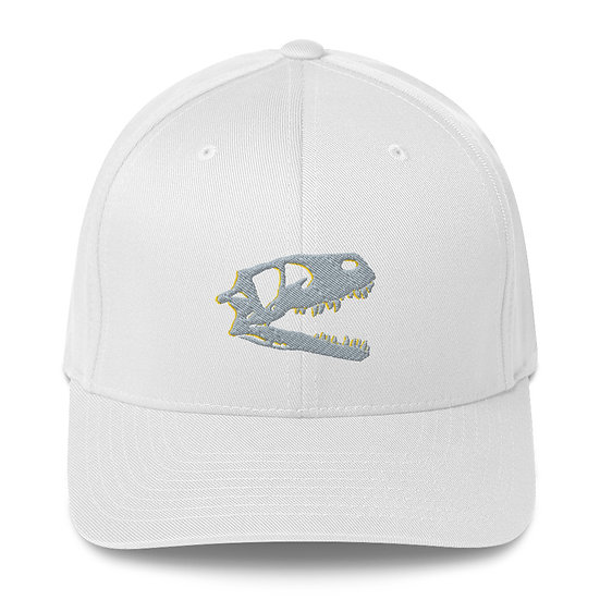 Edward Cope Dino Skull Fitted Structured Twill Cap (Grey)