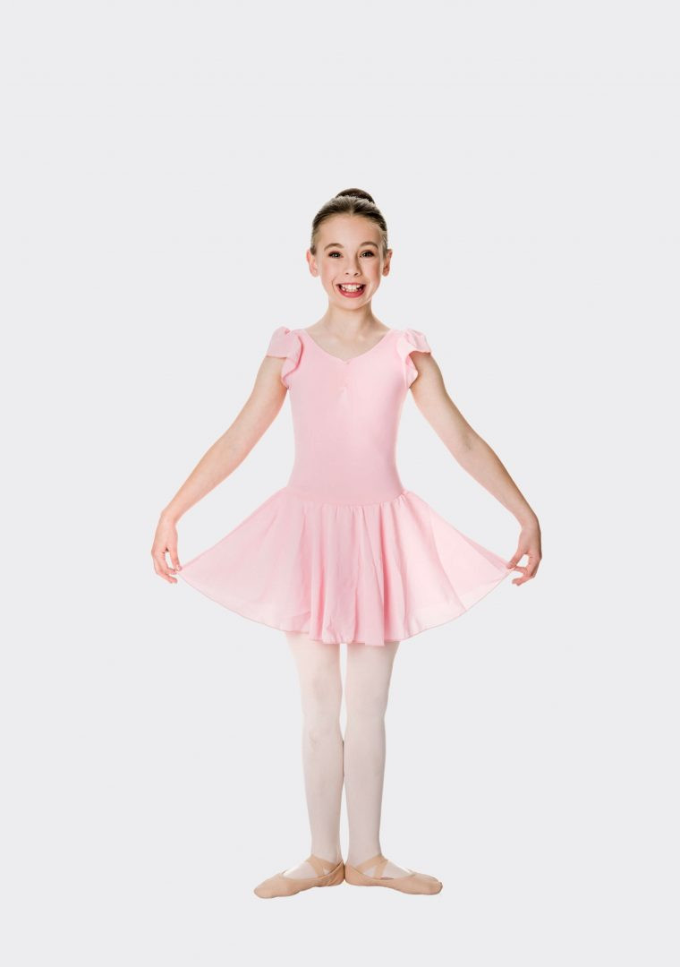 Ballet Pink Studio 7 Cap Sleeve Chiffon Dress