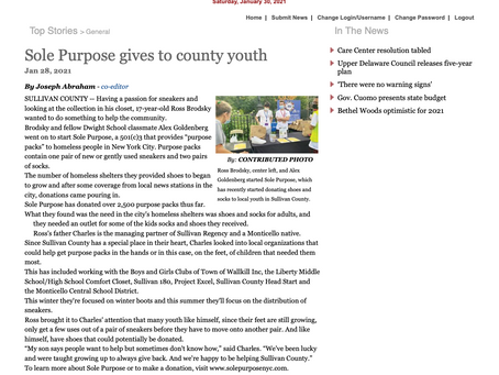 Sole Purpose Expands To The Hudson Valley DonatingTo County Youth.