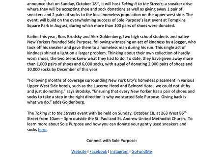 Press Release - Sole Purpose to Host Taking it to the Streets, an Event to Donate Sneakers and Sock