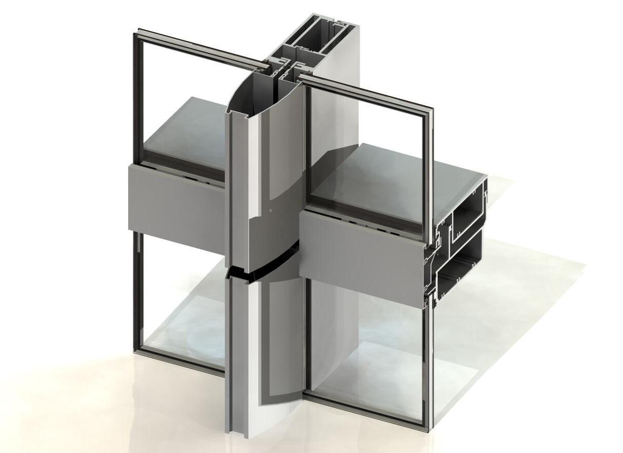 3D Model Curtain Wall w/ Bullnose Cap