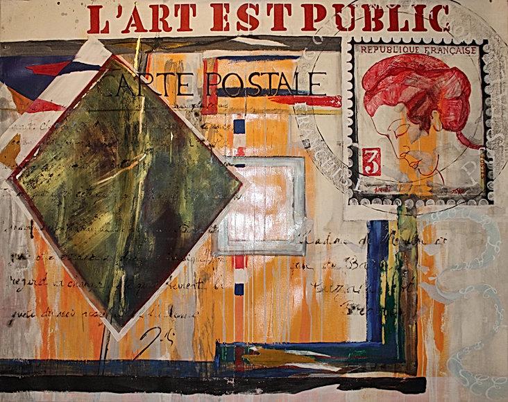 commémoration 14/18 Peinture sur toile lin,technique mixte et collage. 160 x110