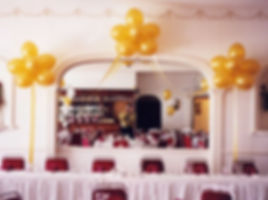 Cloud nine helium balloons are three clusters of nine balloons connected with matching ribbon, are can be placed behind you top table at the wedding reception, we can colour match the balloons to tie into your wedding colour theme.