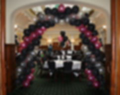 Helium balloon swirl arch for your School prom or leavers party Harrogate
